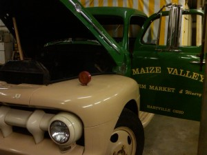 1952 Ford F5 Farmers' Market Truck in the shop for winter repairs