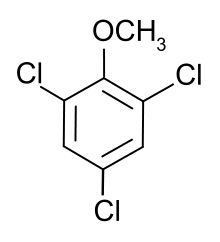 Chemical structure of 2,4,6-trichloroanisole (TCA), the compound primarily responsible for cork taint