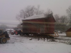 Moving the barn while we had a little frost in the ground
