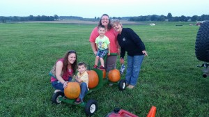 Three generations returning from our pumpkin patch