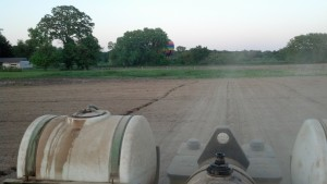 View looking back toward planter from tractor seat.